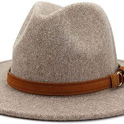 Lisianthus Womens Classic Wool Fedora with Belt Buckle Wide Brim Panama Hat | Amazon (US)