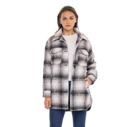 Women's Long Plaid Shirt Shacket Lined Coat - S.E.B. By SEBBY | Target