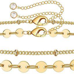 Dainty Gold Bracelets for Women, 14K Gold Filled Adjustable Layered Bracelet Cute Evil Eye Oval C... | Amazon (US)