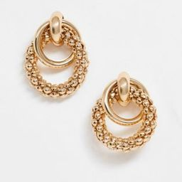 ASOS DESIGN earrings in linked sleek and textured circles in gold tone | ASOS (Global)