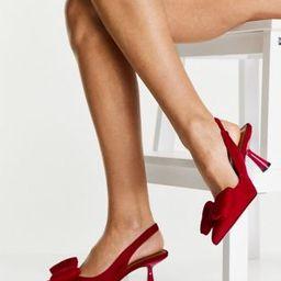 ASOS DESIGN Scarlett bow detail mid heeled shoes in raspberry   ASOS (Global)