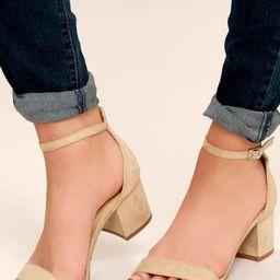 Harper Natural Suede Ankle Strap Heels   Lulus (US)