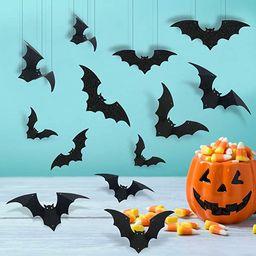 24Pcs Black Glitter Hanging Bats Garland and Bats Wall Decals-Hanging Bat Decorations,Bat Party S... | Amazon (US)