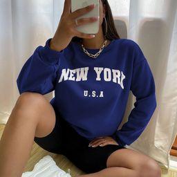 Drop Shoulder Letter Graphic Pullover   SHEIN