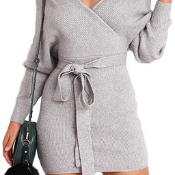 Mansy Women's Sexy Cocktail Batwing Long Sleeve Backless Mock Wrap Knit Sweater Mini Dress   Amazon (US)