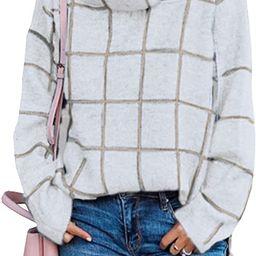 KIRUNDO 2021 Winter Women's Turtleneck Knit Sweater Long Sleeves Pullover Plaid Side Split Chec...   Amazon (US)