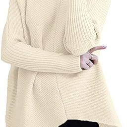 ANRABESS Womens Turtleneck Long Batwing Sleeve Asymmetric Hem Casual Pullover Sweater Knit Tops   Amazon (US)