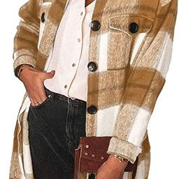 Sidefeel Women Plaid Long Sleeve Button Down Collar Long Shirt Oversized Coat   Amazon (US)