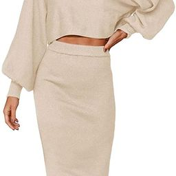 ZOWODO Women's Casual Two Piece Solid Color Ribbed Knit Long Sleeve Tops and Bodycon Midi Skirt S...   Amazon (US)