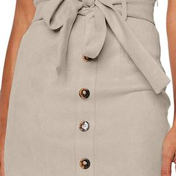 Meyeeka Women's Paperbag High Waist Button Trim Front Belted Faux Suede Mini Skirt   Amazon (US)