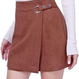 DIASHINY Womens Faux Suede Mini Skirt Above Knee Length Wrap A Line Winter Spring Fall   Amazon (US)