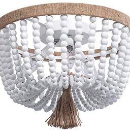 VILUXY Bohemia Wood Beaded Flush Mount Ceiling Light Antique Rustic Mini Chandelier White Finishi... | Amazon (US)