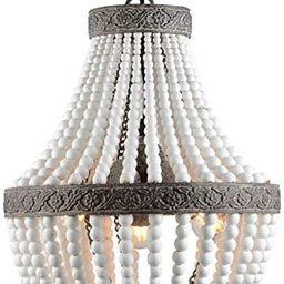 VILUXY 3-Light Bohemia Wood Beaded Chandelier Antique Rustic Pendant Light White Finishing for Be... | Amazon (US)