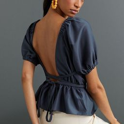 Open-Back Peplum Blouse, Navy Top, Fall Top, Fall Tops, Puff Sleeve Top, Puff Sleeve Tops   Anthropologie (US)