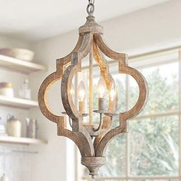 PHILOMENA 4-Light Wood Farmhouse Chandelier Ceiling Light Rustic Orb Wooden Vintage Chandelier Li... | Amazon (US)