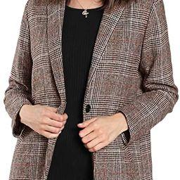 SheIn Women's Lapel Collar Coat Long Sleeve Plaid Blazer Outerwear | Amazon (US)