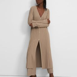 Wide Ribbed Long Cardigan in Empire Wool | Theory Outlet