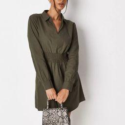 Khaki Poplin Shirred Waist Shirt Dress | Missguided (US & CA)