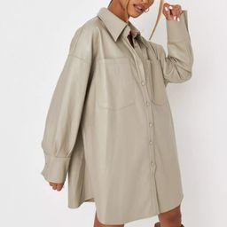 Sage Faux Leather Extreme Oversized Shirt   Missguided (US & CA)