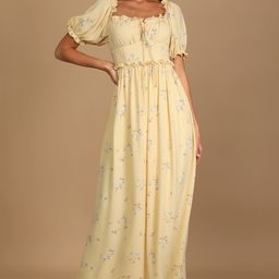 Feeling Special Yellow Floral Print Ruffled Maxi Dress   Lulus (US)