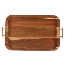 Better Homes & Gardens Acacia Wood Serving Tray with Gold Handles | Walmart (US)