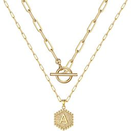 M MOOHAM Gold Initial Necklaces for Women, 14K Gold Plated Layered Initial Necklace Hexagon Pendant  | Amazon (US)