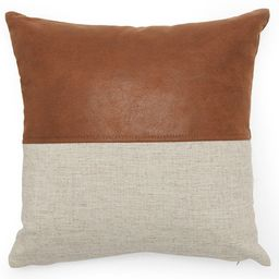 """MoDRN Industrial Mixed Material Decorative Square Throw Pillow, 16"""" x 16"""", Faux Leather 