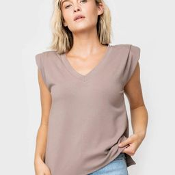 V-Neck Step Hem Tank with Pleated Sleeves | Gibson