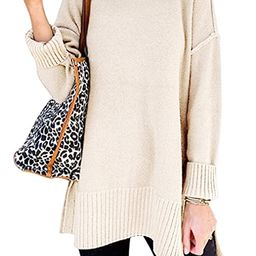 MEROKEETY Women's Casual Crew Neck Side Split Pullover Sweater Loose Long Sleeve Jumper Top | Amazon (US)
