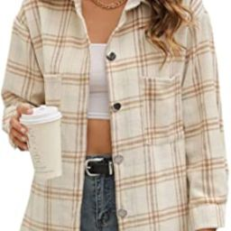 Himosyber Womens Casual Button Down Plaid Lapel Brush Wool Blend Shacket Blouse Shirt Coat | Amazon (US)