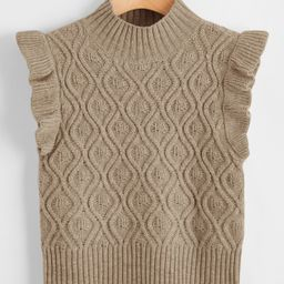 Ruffle Armhole Solid Sweater Vest   SHEIN