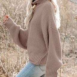 Saodimallsu Womens Turtleneck Oversized Sweaters Batwing Long Sleeve Pullover Loose Chunky Knit J... | Amazon (US)