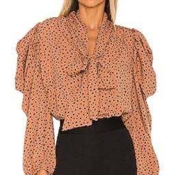 Line & Dot Hazel Polka Dot Blouse in Camel & Black from Revolve.com   Revolve Clothing (Global)