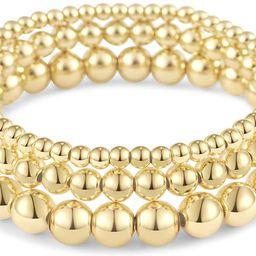Reoxvo Gold Layered Bracelets for Women,18K Gold Plated Beaded Ball Bracelets for Women Gold Stackab | Amazon (US)