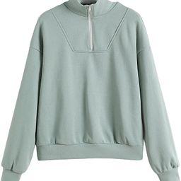 Milumia Women's Casual Stand Collar Half Zip Long Sleeve Sweatshirt Pullover Top   Amazon (US)