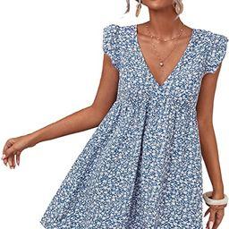 MakeMeChic Women's Cap Sleeve V Neck Ditsy Floral Tie Back Ruffle Smocked Dress   Amazon (US)