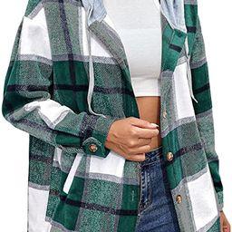 Bbalizko Womens Oversized Plaid Hoodie Jacket Button Down Long Sleeve Drawstring Casual Boyfriend...   Amazon (US)