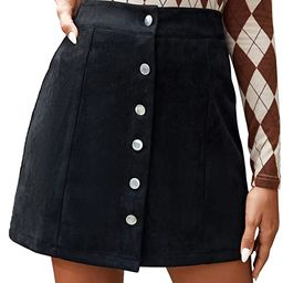SheIn Women's Casual Button Front Solid Suede A-Line Short Skirt   Amazon (US)