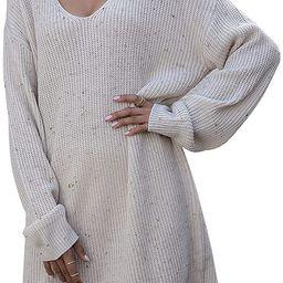 Wellwits Women's Choker Halter V Neck Mini Shift Sweater Dress   Amazon (US)