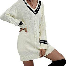 Wellwits Women's V Neck Black Stripe Cable Knit Mini Shift Sweater Dress   Amazon (US)