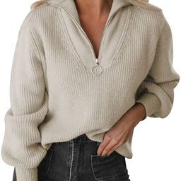 MAGIMODAC Women Fall Sweater Oversized Winter Pullover V Neck Long Sleeve Tops with Half Zip   Amazon (US)
