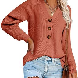 Carryvicty Womens Button Down Knitted Pullover Henley V Neck Sweaters Fall Long Sleeves Sweater   Amazon (US)