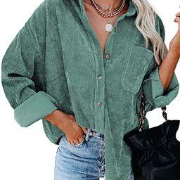 Dokotoo Womens Corduroy Button Down Shirts Boyfriend Long Sleeve Oversized Blouses Tops | Amazon (US)