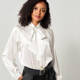 Vintage Tie Neck Silk Shirt | LilySilk