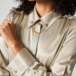 Silk Blouse With Metal Chain | LilySilk