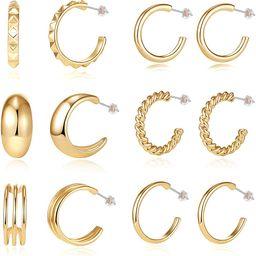6/12 Pairs Small Good Hoops Earrings for Women Hypoallergenic Ear - Gold Chunky Hoop Earrings Set... | Amazon (US)