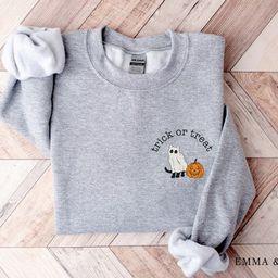 Halloween Crewneck Sweatshirt, Trick or Treat Shirt, Black Cat Sweatshirt, Ghost Sweatshirt, Hall...   Etsy (US)