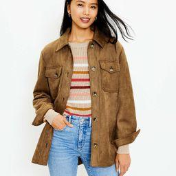 Petite Faux Suede Shirt Jacket | LOFT