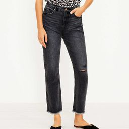 Destructed High Rise Straight Crop Jeans in Washed Black Wash | LOFT