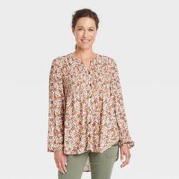 Women's Long Sleeve Smocked Button-Front Shirt - Knox Rose™ Blush | Target